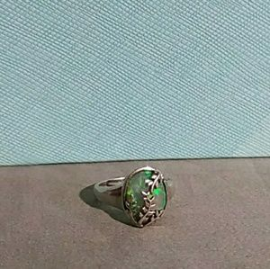 Jewelry - Oval Fire Opal Thailand Sterling Silver Sz 6 Ring